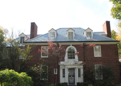 Non-weathering Gray Green Slate Roof with Copper Accents