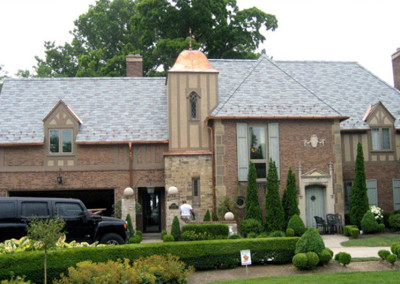 Traditional Slate Roof with Copper Accents