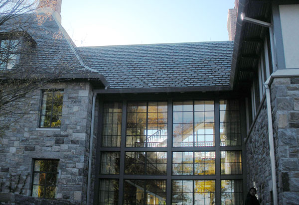 Closer view of this graduated slate roof.