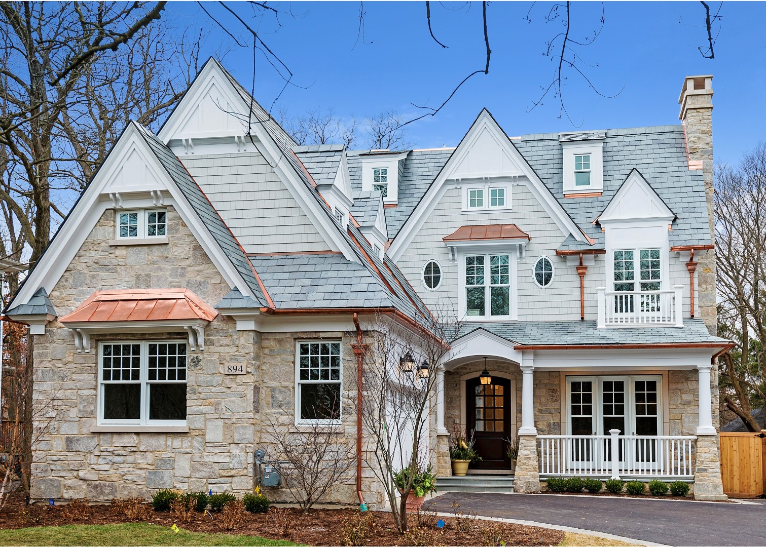 Unfading gray with copper accents on nantucket style home for Roof accents