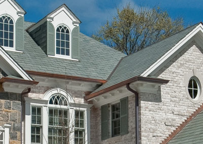 Non-weathering Gray / Green Slate Roof on Colonial Style New Construction