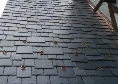 Cedar Shake Roof Replaced With Genuine Slate using SlateTec Reduced Weight Slate Installation Method