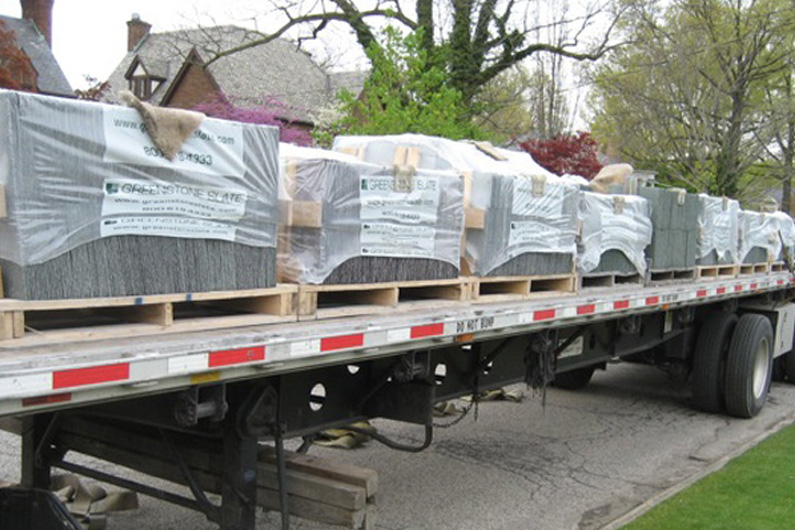 The genuine Vermont slate arrives on a truck from Greenstone Slate in Vermont.
