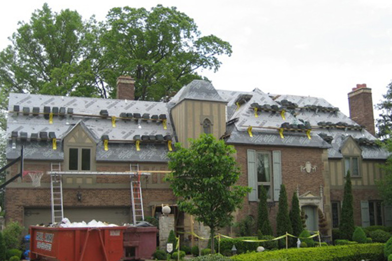 Slate roof installation with genuine Vermont slate.
