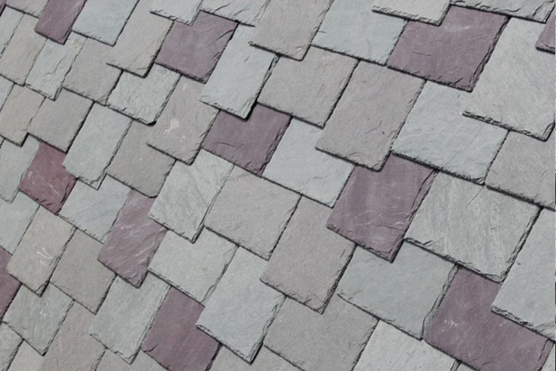 Unequal length slate installation with Royal Purple slate accents.