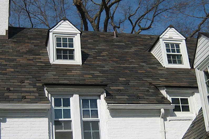 Southern Connecticut White Brick Home Vermont Slate