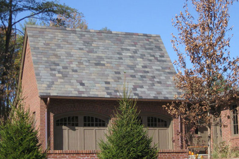 Close up of slate roof with historical color blend