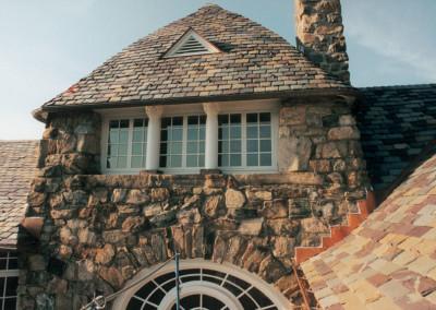 Graduated Slate Roof on Fieldstone Home