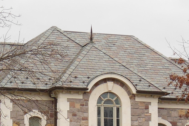 Close up of genuine slate roof on grand Residence in New Jersey