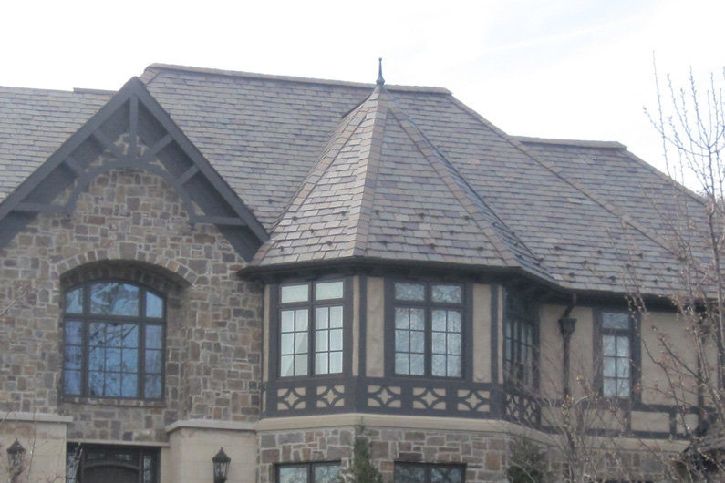 close up of slate roof installed with architectural grade slate