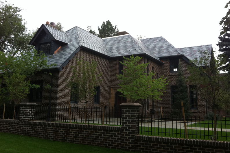 Asphalt roof replaced with SlateTec Installation using Vermont Slate Blend