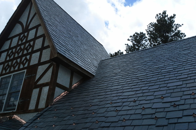Cedar Shake Roof Replaced With Genuine Slate using SlateTec Reduced Weight Slate Installation Method
