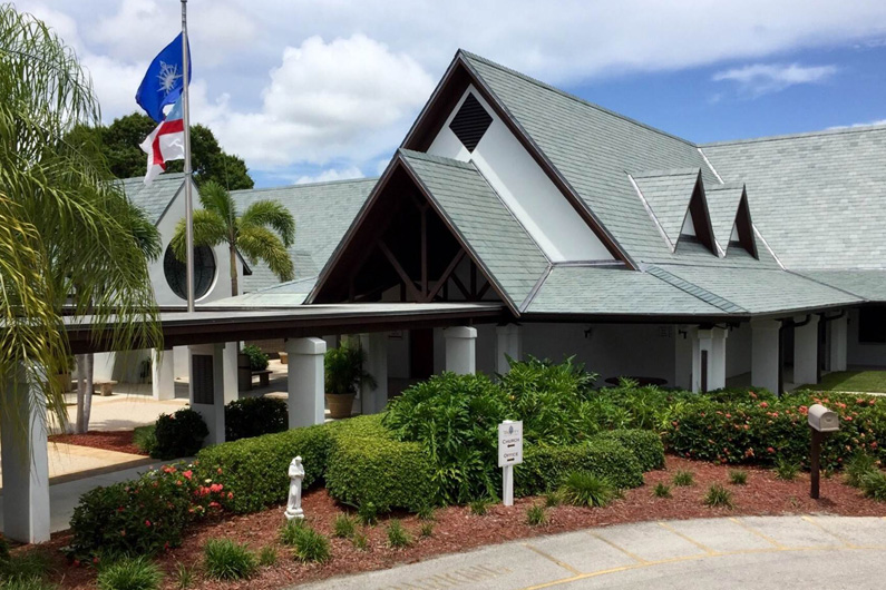 Gray Green Slate roof on large florida religious facility