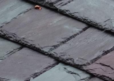 Slate roof using Non-weathering Mottled Green / Purple slate