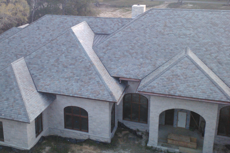 Four color slate blend roof in florida greenstone slate for Vermont slate colors