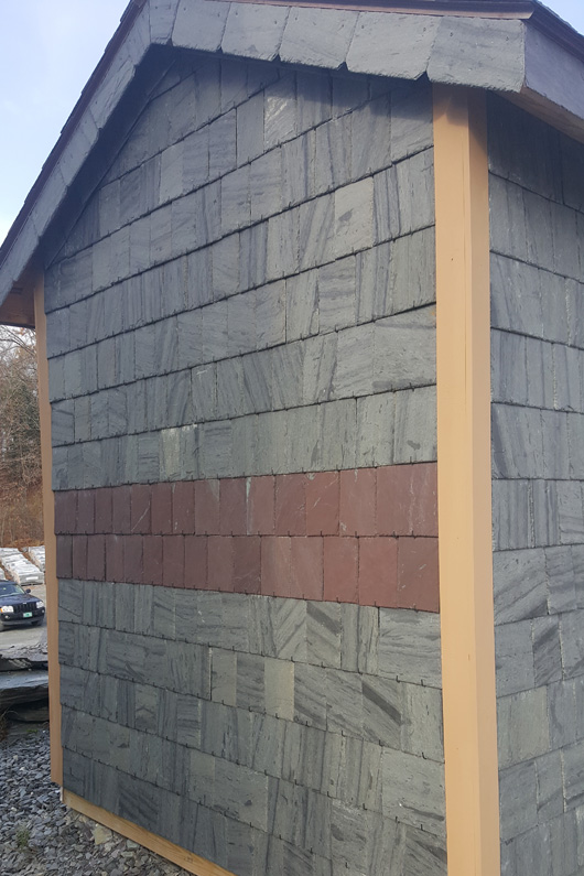 SlateTec slate installation system was used to install roofing slate on the walls of this small shed. Stainless Steel Hook installation method was used on this side of the building.