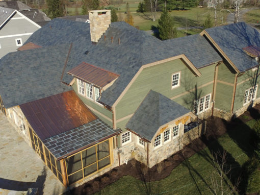 Greenstone Slate® Vermont Strata Gray slate roof install using reduced weight installation method