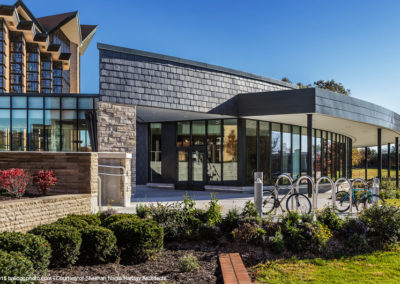 Vermont Gray/Black slate wall cladding installation at Valparaiso University