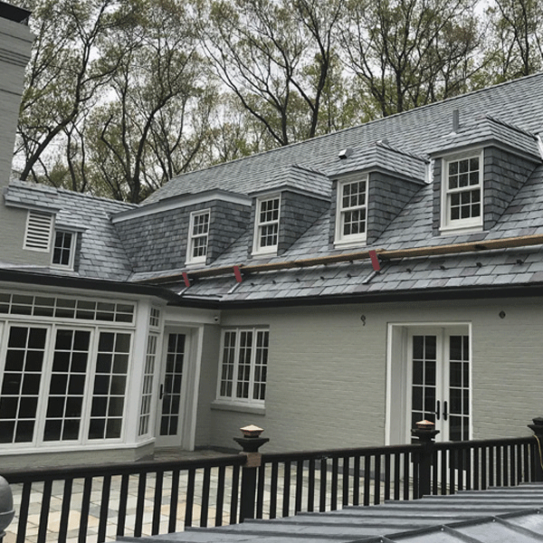real Vermont slate roof with slate cladded dormers
