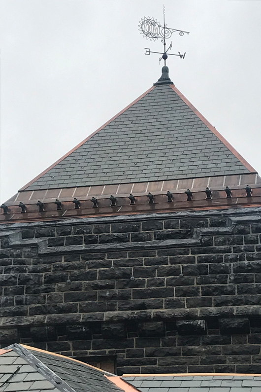 A triangular slate turret atop the Yaddo mansion.